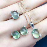 Natural green prehnite gem jewelry sets natural gemstone Pendant ring <b>Earrings</b> 925 <b>silver</b> Stylish elegant round women jewelry