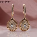 PATAYA New 585 Rose Gold Water Drop Natural Zircon Long Dangle Earrings Women Girls Gift <b>Wedding</b> Party Fine Cute Earring <b>Jewelry</b>