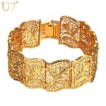 U7 Vintage Bracelet Bangle Plant Pattern Trendy Yellow Gold Color Women/Men <b>Jewelry</b> 20CM 22MM Chunky Big Bracelet H406