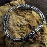 GAGAFEEL Genuine 100% Real Pure 925 <b>Sterling</b> <b>Silver</b> Men bracelets Hemp Rope Vintage Handmade Thai <b>Silver</b> Men <b>jewelries</b> Fine Gift
