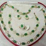 Prett Lovely Women's Wedding Beautiful Popular <b>jewelry</b> Green gem Necklace Bracelet Ring Earring Set silver