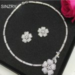 SINZRY Luxury bridal <b>jewelry</b> set white cubic zircon flower chokers necklace earring wedding <b>jewelry</b> sets