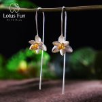 Lotus Fun Real 925 Sterling <b>Silver</b> Natural Original Handmade Fine Jewelry Cute Blooming Flower Fashion Drop <b>Earrings</b> for Women