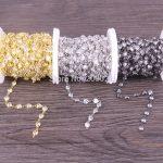 New Fashion 3 Meter Cubic Zirconia Brass Chain,6x6mm Heart Beaded Chain,For <b>Jewelry</b> <b>Making</b>