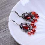 MetJakt Natural Black Agate/Garnet Drop Earrings with Zircon Solid 925 <b>Sterling</b> <b>Silver</b> Earring for Women Vintage <b>Jewelry</b>