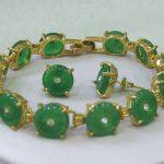 Prett Lovely Women's Wedding fast shipping>>Natural Green gem bracelet earrings set 7.5″ AAA+AS+DW