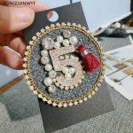 SONGDANWYF ABS Pearl Letter 5 Tassel Crystal Brooches Hijab Pins <b>Jewelry</b> Collar Pin Brooch Shirt Shawl hijab bags <b>Accessories</b>