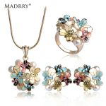 Madrry <b>Fashion</b> Dubai <b>Jewelry</b> Sets Gold Color Enamel Flower Pendant Necklace Earrings Ring For Women Simulated-pearl Anel Schmuck
