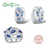<b>Silver</b> <b>Jewelry</b> Sets For Women Blue Cystal White Cubic Zirconia Stone Ring Earrings Set Pure 925 <b>Sterling</b> <b>Silver</b> <b>Jewelry</b> Set