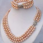Prett Lovely Women's Wedding charm Jew.656 3Rows 7-8mm Pink Akoya Pearl Necklace Bracelet Set