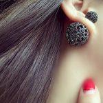 Sexemara expensive high end women stud <b>earrings</b> black hollow two-sided ball <b>earrings</b> Luxury zircon Wedding gift birthday gifts