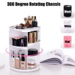 <b>Fashion</b> 360-degree Rotating Makeup Organizer Box Capacity Desktop Multi-layer Circular Large Assembly Cosmetic Storage Box Case