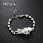 NEWBARK Brand Bracelets For Women Charming Simulated Pearl With Top Cubic Zircon Paved Bracelet Femme Brides <b>Wedding</b> <b>Jewelry</b>