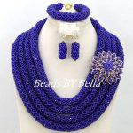 <b>Handmade</b> Royal Blue African Beads <b>Jewelry</b> Set Dubai Wedding Bridal <b>Jewelry</b> Set Crystal Beads Women New Set Free Shipping ABY318