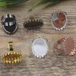 100pcs Cabochon 13*18mm,18*25mm Crown Pad ring blank Cameo Tray,Bronze/Gold/Silver Ring setting,<b>Handmade</b> Zakka <b>jewelry</b> Finding