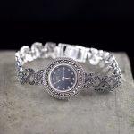 Limited Edition Classic S925 <b>Silver</b> Pure Thai <b>Silver</b> Artistic <b>Bracelet</b> Watches Thailand Process Rhinestone Bangle Dresswatch