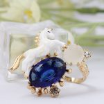 2017 Unicorn Zodiac Bule Cristal Gold Ring Prevent Allergy Hand Painted Enamel Woman <b>Jewelry</b> anillos Bague Femme Aneisi donna
