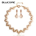 Blucome Fashion Rose Color <b>Necklace</b> Earring Set Wire Metal Zircon <b>Jewelry</b> Sets Bijuterias For Women Bridal Wedding Accessories