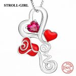 New arrival 925 sterling silver love heart rose chain pendant necklace with enamel&CZ diy fashion <b>jewelry</b> factory <b>supply</b> giftS
