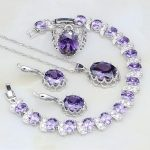 Punk Purple Cubic Zirconia White CZ 925 Sterling <b>Silver</b> Jewelry Sets For Women Wedding Earrings/Pendant/Necklace/<b>Bracelet</b>/Ring