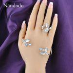 Nandudu Fashion Leaf Palm Bracelet with Austrian Crystal Zircon Palm Cuff <b>Handmade</b> Bangle <b>Jewelry</b> Gift R917