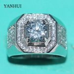YANHUI Luxury original 925 Sterling Silver Rings Men <b>Jewelry</b> Full CZ Zirconia Diamant Engagement <b>Wedding</b> Band Rings For Men R225