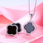 Sinya 925 sterling <b>silver</b> four leaf Agate Stones <b>earring</b> necklace set for women pink black color optional Fine jewelry Hotsale