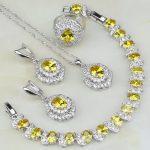 Yellow Cubic Zirconia White Zircon 925 Sterling <b>Silver</b> Jewelry Sets For Women Wedding Ring/Earring/Pendant/Necklace/<b>Bracelet</b>