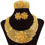 African New <b>Fashion</b> High Quality 24 Gold <b>Jewelry</b> Sets Flowers Big Necklace Earrings Bracelet Rings Bridal Wedding Party <b>Jewelry</b>