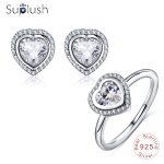 Suplush Antique 925 Sterling Silver Sparkling CZ Heart <b>Jewelry</b> Set For Women Wedding <b>Jewelry</b> Earrings Ring Set bijoux PSST0028