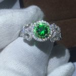 Fine <b>Jewelry</b> 100% Real Soild 925 Sterling silver rings 1ct Green AAAAA Diamonique Cz Engagement <b>wedding</b> band ring for women
