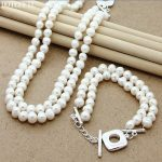 Fashion Double Pearl Necklace <b>Bracelet</b> Women 925 <b>Silver</b> Charm Jewelry Natural Freshwater Pearls Necklace <b>Bracelet</b> Set