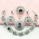 WPAITKYS Classic Multicolor Cubic Zirconia 925 <b>Silver</b> Jewelry Set For Women Necklace Earrings <b>Bracelet</b> Pendant Ring Free Ship