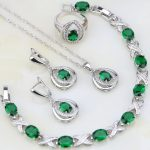 Egg Shaped Green Cubic Zirconia White CZ 925 <b>Silver</b> Jewelry Sets For Women Wedding Earring/Pendant/Necklace/<b>Bracelet</b>/Ring 4PCS