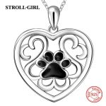 Aliexpress silver 925 cute animal dog footprint chain pendant&necklace with black enamel diy fashion <b>jewelry</b> <b>making</b> women gifts