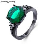 Vintage Party Women Ring Green Charming Colorful CZ Fashion Black Gold Color <b>Wedding</b> Engagement Rings <b>Jewelry</b> Bijoux Femme Anel