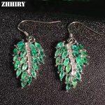ZHHIRY Women Big Natural Emerald Drop Earrings 925 <b>sterling</b> <b>silver</b> Genuine Gem Stone Fine <b>Jewelry</b>