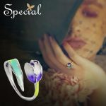 Special Brand Fashion Enamel Flower Rings Purple Tulip End Open Rings Size Adjustable <b>Jewelry</b> Gifts for Women S1720R