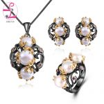 ZHE FAN Freshwater Pearls <b>Jewelry</b> Set 2 Tone Black Gold Color Vintage Simulated Pearl <b>Necklace</b> Earrings Ring Sets For Women