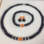 Prett Lovely Women's Wedding Black Akoya Cultured Pearl/Orange gem bracelets necklace earrings set A056 Natural