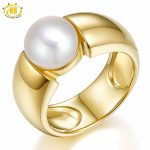Hutang Natural White Freshwater Pearl (9-9.5 mm) Solid 925 Sterling <b>Silver</b> Gold-Color Wedding Rings For Women's Fine <b>Jewelry</b>