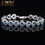 CWWZircons High Quality 925 Sterling Silver Mystic Light Blue Crystal Love Bracelet For Women Wedding Bridal Gift <b>Jewelry</b> CB173