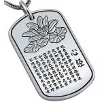 MetJakt S999 Sterling <b>Silver</b> Buddhist Heart Sutra Pendant and <b>Silver</b> Snake Chain <b>Necklace</b> Suit for Unisex Amulet Jewelry