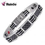 Rainso Chain Bracelets Men <b>Jewelry</b> Energy Magnetic Health Bracelet Brazil Style Couples Black Titanium Bracelets Handmade