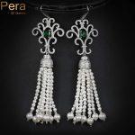 Pera Luxury Bridal <b>Wedding</b> Imitation Pearl <b>Jewelry</b> Green CZ Stone Pave Setting Big Long Hanging Earrings For Brides E045