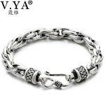 Wholesale Genuine 925 Sterling <b>Silver</b> Men <b>Bracelets</b> Vintage Thai <b>Silver</b> Couple <b>Bracelet</b> For Men Women Jewelry Bless safety