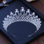 CC tiaras and crowns hairbands luxury rhinestone pageant engagement <b>wedding</b> hair accessories for bride <b>jewelry</b> shine cz XY200