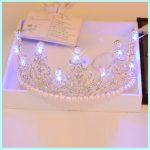 Luxury Growing Colorful Light Tiara Crown for Women Hair <b>Jewelry</b> Crystal Pearl Tiara Elegant Hairwear Wedding Headpiece HG080