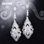 HUCHE Gorgeous Dangle Earrings <b>Make</b> Up By AAA Zirconia 2017 Fashion <b>Jewelry</b> White Gold Color Copper Earrings For Women HYJAE09