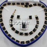 very good women's Wonderful Black Obsidian Gem Inlay Necklace <b>Bracelet</b> Earring Ring Jewelry Set <b>silver</b> wholesale Quartz stone cr
